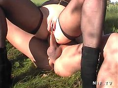 Amateur French Couple Doing Anal Sex Outdoor