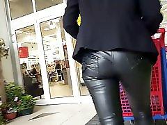 Cum on leather pant mature in public