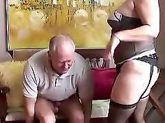 Old spunker in sexy stockings loves to suck cock & eat cum