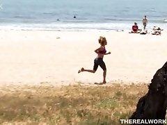A couple on an adventurous sex on a beach