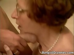Nasty redhead milf blows stiff cock and gets pounded ha