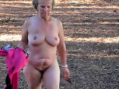Mature Nude Female SS Strips in Wooded Area