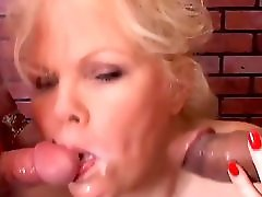 Super cute chubby old spunker enjoys a sexy spit roasting