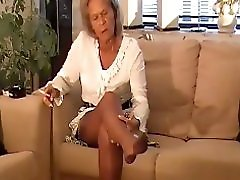 Granny Smoking And Nylon