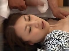 Horny japanese milf sucking dick during a massage by jp