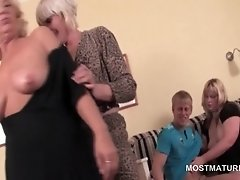 Teen stripper fellated by mature blondes