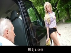 Lucky Grandpa Fucks Sexy Teenager Blonde In A Van