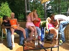 3 czech horny girls in a garden orgy