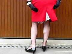 Crossdresser In Red Dress