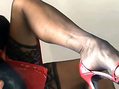 Mature black nylons