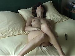 Blindfolded wife masturbting