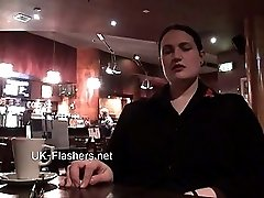Upskirts masturbation in public restaurant of chubby amateur