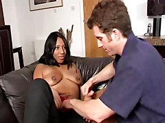 Ebony Woman and white cock
