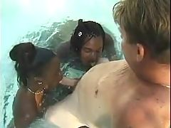 Black Babes Blowjob Fucking and Facial in The Pool