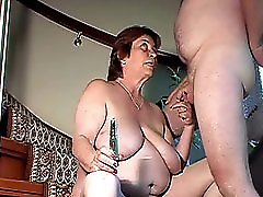 Chubby amateur wife toys and sucks and fucked