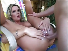 Blonde Milf Deep Anal With Younger Guy Outside