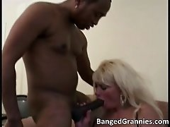 Nasty Slutty Blonde Woman Sucking Hard Black Cock And G