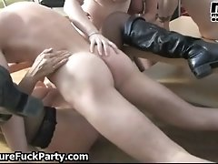 Three horny mature wifes enjoying a big young cock in t