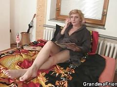 Delivery men share old skinny granny