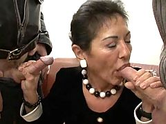 German Hairy Granny Mature In Black Lingerie Threesome Troia Takes Hard Cock In The Ass All The Way
