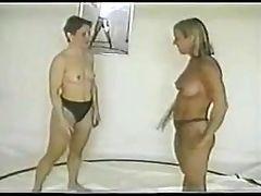 Amateur lesbian wrestling