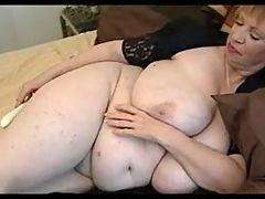 Fat granny masturbating