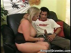 Sexy blonde milf blows stiff rod by bangedgrannies