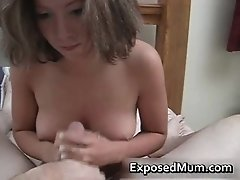 Titty a hard cock with ky jelly by exposedmum