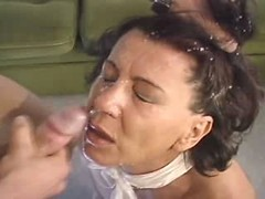 Mature hot mom fucked by young guy and gets big facial load