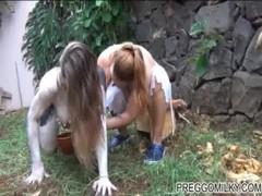 Lesbian milking a human cow