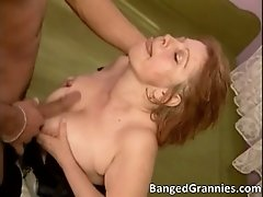Aroused slutty brunette woman blowing tube and getting