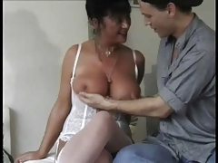 Hairy milf loves to fuck this young stud