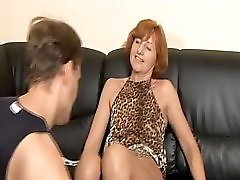 Wild redhead in leopard print shirt fucks guy