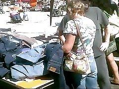 Upskirted This MILF at the Flea Market Black Panties!