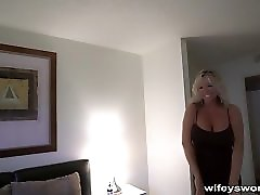 Wifey Pulls Out Her Huge Tits Gets Drilled And Swallows Cum