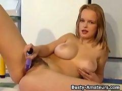 Busty Peaches masturbates her pussy