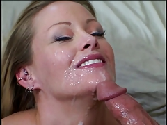 Hot blonde gets her large natural tits licked by young stud