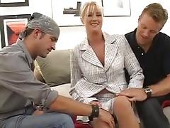 Busty Milf Bethany Sweet Fucks Two Young Guys