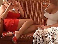 Two hot blonde MILFs fuck a pretty brunette