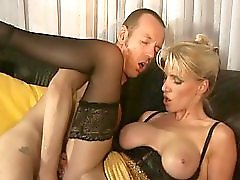 Guy fucks hot blonde on leather couch