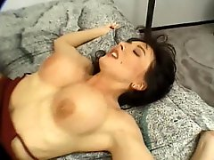 Smoking hot big tits brunette ends up with a big one up both ends