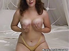 Hot Milf Jonee stripping showing her huge tits and hairy pus