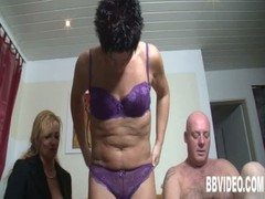 Short haired german milfs share cock