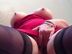 Sexy granny big tits shaved pussy upskirt