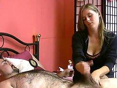Horny man squirts his cum real high during masturbation