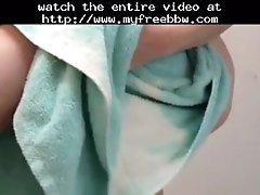 Drying her big tittys nipples & hairy bush bbw fa