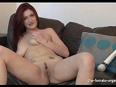Horny Babe with Big Natural Breasts Masturbates to Orgasm