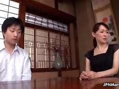 Horny japanese mature mom loves kissing younger guys by