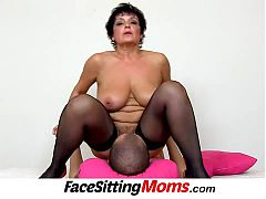 Big boobs lady Greta old young facesitting and pussy eating