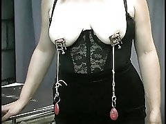 Mature Chubby Slave Nipple Clamped And Teased